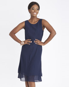Contempo Chiffon Double Layer Dress Navy
