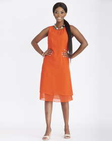 Contempo Chiffon Double Layer Dress Orange