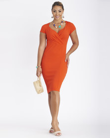 Contempo Printed Wrap Cap Sleeve Dress Orange