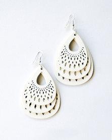 Karmiessentials Hollow Waterdrop Earrings White
