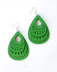 Karmiessentials Hollow Waterdrop Earrings Green