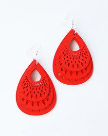 Karmiessentials Hollow Waterdrop Earrings Red