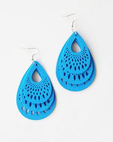 Karmiessentials Hollow Waterdrop Earrings Blue