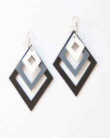 Karmiessentials Multilayer Diamond Shape Drop Earring - Black White
