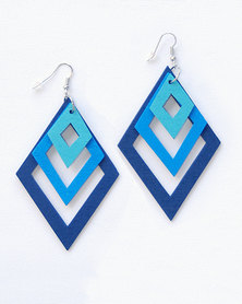 Karmiessentials Multilayer Diamond Shape Drop Earring - Blue Navy