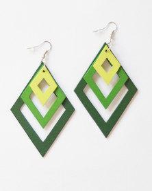 Karmiessentials Multilayer Diamond Shape Drop Earring - Green Lime