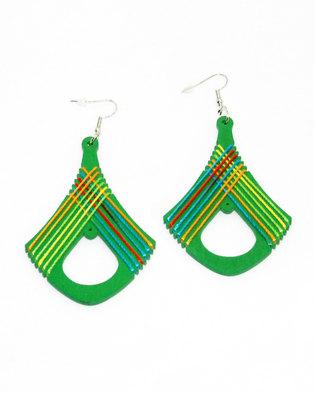 Karmiessentials Retro Rhombus Hollow Earring - Green