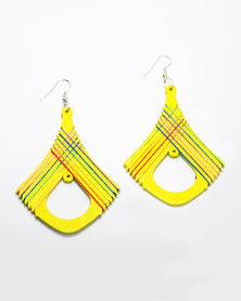 Karmiessentials Retro Rhombus Hollow Earring - Yellow
