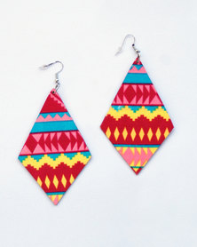 Karmiessentials European Ethnic Mix Colour Earrings Red Yellow