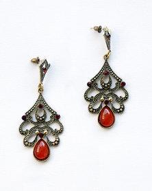 Karmiessentials Vintage Chrystal Rhinestone Cat Eye Stone Earrings Dark Red