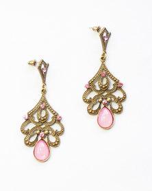Karmiessentials Vintage Chrystal Rhinestone Cat Eye Stone Earrings Pink