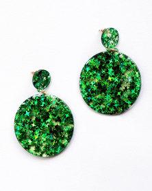 Karmiessentials Glitter Star Solid Circle Earrings Green