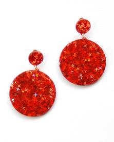 Karmiessentials Glitter Star Solid Circle Earrings Red