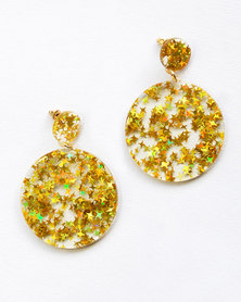 Karmiessentials Glitter Star Solid Circle Earrings Yellow