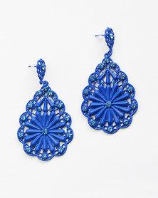 Karmiessentials Hollow Flower Earrings Blue