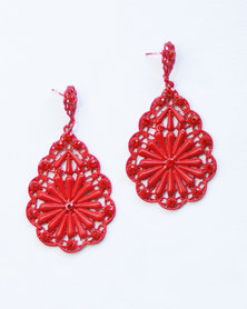 Karmiessentials Hollow Flower Earrings Red