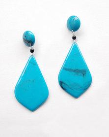 Karmiessentials Teardrop Dangle Earrings Blue