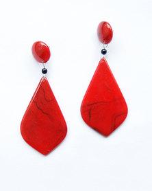 Karmiessentials Teardrop Dangle Earrings Red