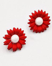 Karmiessentials Colourful Pearl Stud Earrings Red