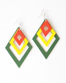 Karmiessentials Multilayer Diamond Shape Drop Earring - Red Yellow Green