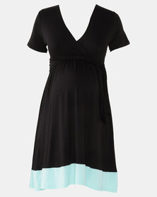 Absolute Maternity Mint and Black Skater Dress