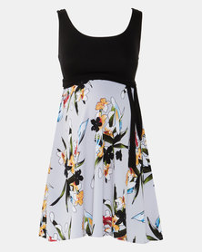 Absolute Maternity Grey Floral Print Skater Dress