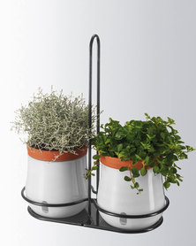 Leonardo Self-Watering Plant Pot in Metal Holder White Serra Set of 2