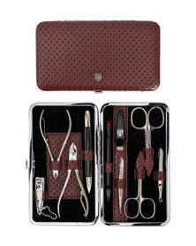 Kellermann 3 Swords Manicure Set Burgundy & Black Spots