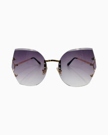 Miss Boss Tendy Angular Sunglasses with Gradient Purple Lenses in Gold