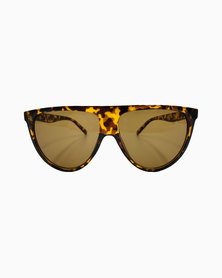Miss Boss Sports D-Frame Sunglasses with Ombre Plastic Frame in Brown
