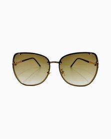 Miss Boss Fashion Round Sunglasses with Tinted Brown Lens in Gold