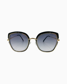 Miss Boss Fashion Catseye with Gold Frame and Gradient Smoked Lenses in Black