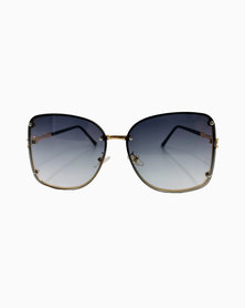 Miss Boss Fashion Round Sunglasses with Tinted Gray Lens in Gold