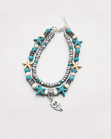 Karmiessentials Colourful Ocean Ankle Bracelet Turquoise Silver White