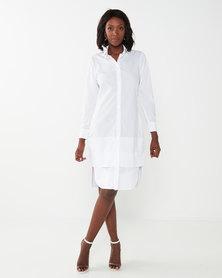 Exito Fashion House Delta Shirt Dress White Classic