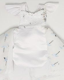 Anjo Couture White & Blue Flamingo Romper/Dress