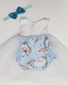 Anjo Couture Unicorn Romper/Dress - Blue
