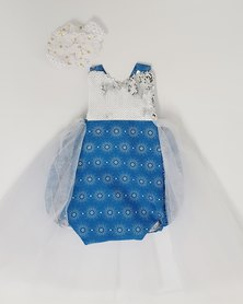 Anjo Couture Ethnic Romper - Blue & White