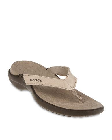 a38377eaf97eb7 Crocs Capri IV Thong Sandals Mushroom Beige