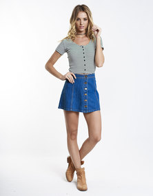 All About Eve Ava Aline Denim Skirt