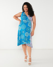 Maya Prass Poppy X-Over Dress Turquoise