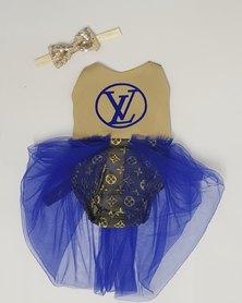 Anjo Couture Designer Print Romper - LV Blue