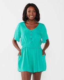 Big Girl V Neck Romper Jumpsuit Shorts Green