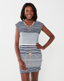 Big Girl Sleeveless Striped Dress Blue