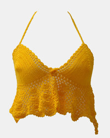 SKA Wide Bottom Crochet Bra Top Mustard Yellow