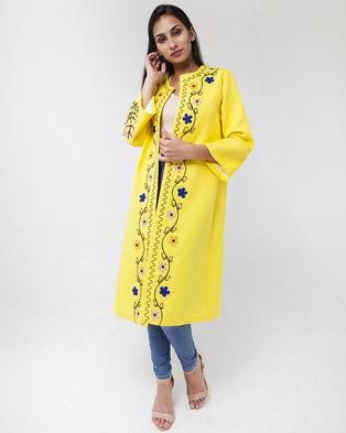 Mamoosh hand embroidered Kimono yellow