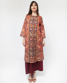 Mamoosh Persian motif kimono orange