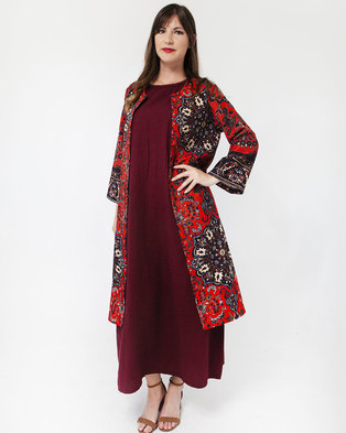 Mamoosh Persian motif kimono red & black