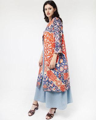 Mamoosh Persian motif kimono blue & red