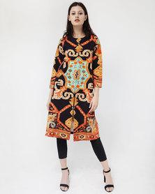 Mamoosh Persian motif kimono turquoise & orange
